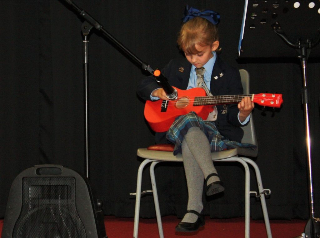 A St Dominic's Grammar School pupil performing at a music concert
