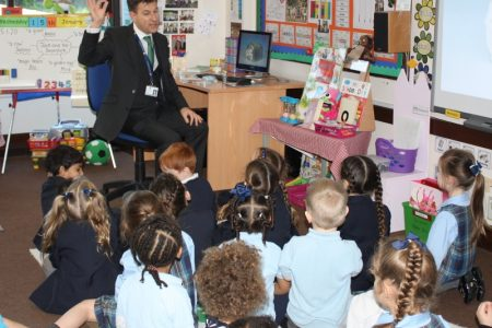 Mr McNabb teaching nursery children science at St. Dominic's Grammar School